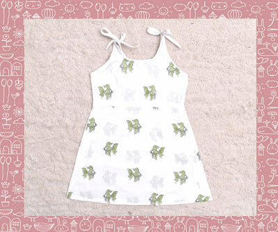 Bhagirathi - White With Apple Green Fish Printed Frock (2yrs)