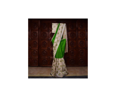 Half White Tussar And Avacado Green Kanchi Silk Half And Half Saree With  Blouse