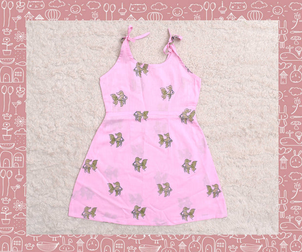 Bhagirathi - Rose With Apple Green Fish Printed Frock (3yrs)
