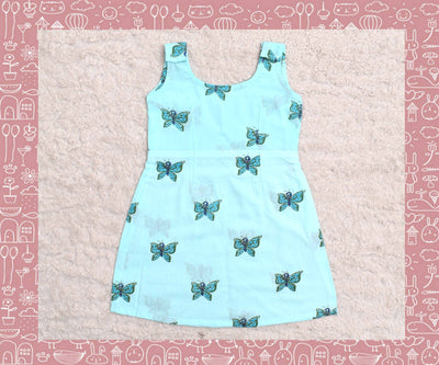 Indravati - Sky Blue With Blue Butterfly Printed Frock (3yrs)