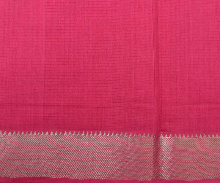 Rose Mangalagiri Cotton Saree With Silver Zari Temple Border With Blouse