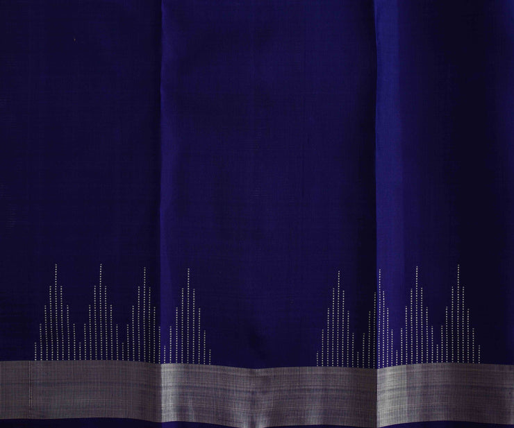 Slate Blue Silver Pin Line Temple Kanchi Silk Saree With Silver Zari Border and Blouse