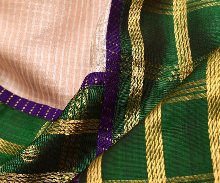 Half White Checked  Tussar Saree With  Green Long Border And Purple Kanchi Silk Blouse
