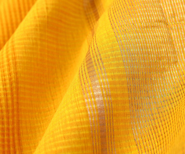 Yellow and Orange Mangalagiri Cotton Saree With Green Silver Zari Border With Blouse