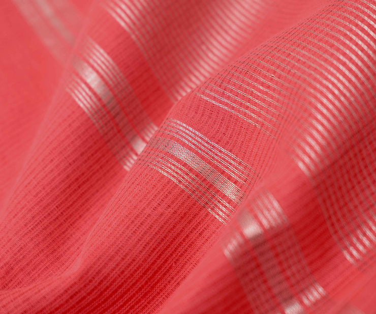 Coral Pink Mangalagiri Cotton Saree With Silver Zari Temple Border With Blouse