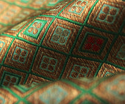 Green Banarasi Silk Fabric With  Multi Color Checked Zari