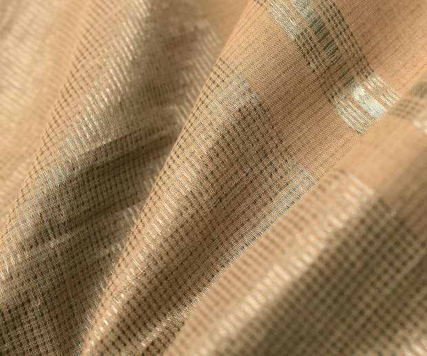 Cream Mangalagiri Cotton Saree With Silver Zari Temple Border With Blouse
