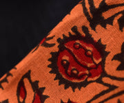 Black Kota Saree With Tangerine Floral  Printed Cotton Blouse