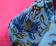 Pink Kota Saree With Sky Blue Floral Printed Chanderi  Blouse
