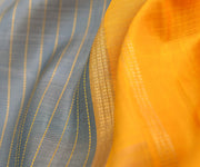 Grey Muthuseer Line Kanchi Silk Saree With Mustard Kanchi Silk Pallu And Blouse