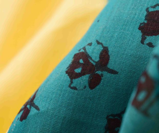 Buttermilk Kota Saree With Teal Floral Printed Chanderi  Blouse