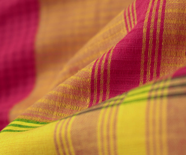 Rose Mangalagiri Cotton Saree With Mustard With Green Border And Blouse
