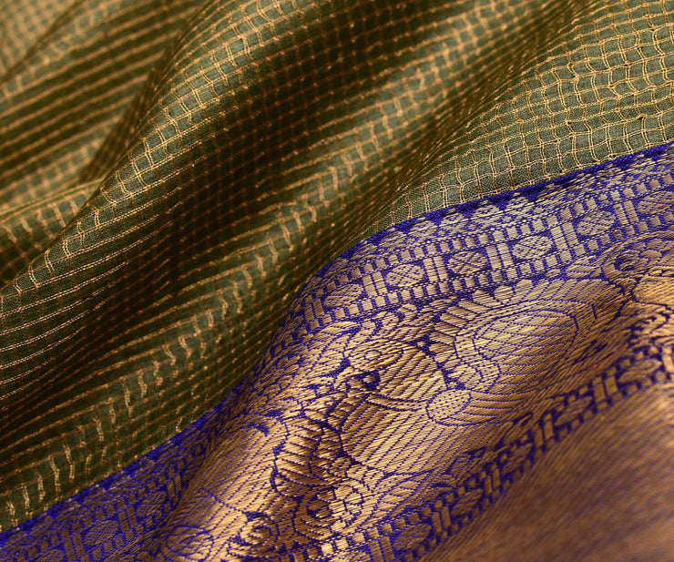 Olive Green Checked Tussar Saree With MS Blue Kanchi Silk Blouse And Border