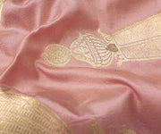 Crepe Pink Banarasi Silk Fabric With Zari Highlights