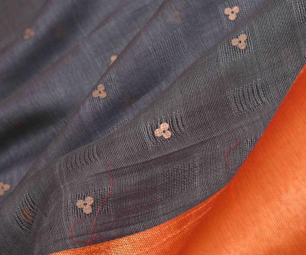 Orange Tissue Silk And Grey Bailu Half And Half Saree With Yellow Kanchi Silk Blouse