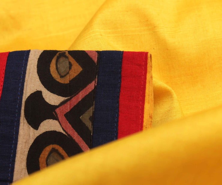Yellow Tussar Saree With Kalamkari Patch Border
