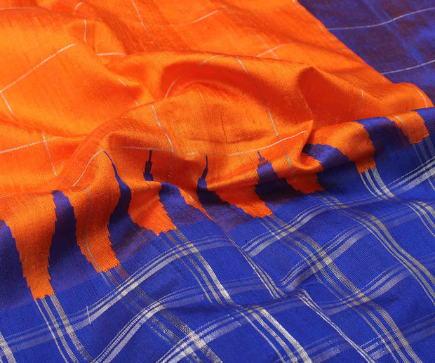 Orange & Royal Blue Raw Silk Saree with Checks Design - With Blouse
