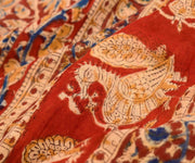 Maroon Kalamkari Floral Printed Cotton Saree With Thread Zari Border