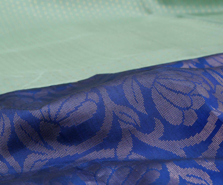 Apple Green And Ink Blue Kanchi Silk Half And Half Saree