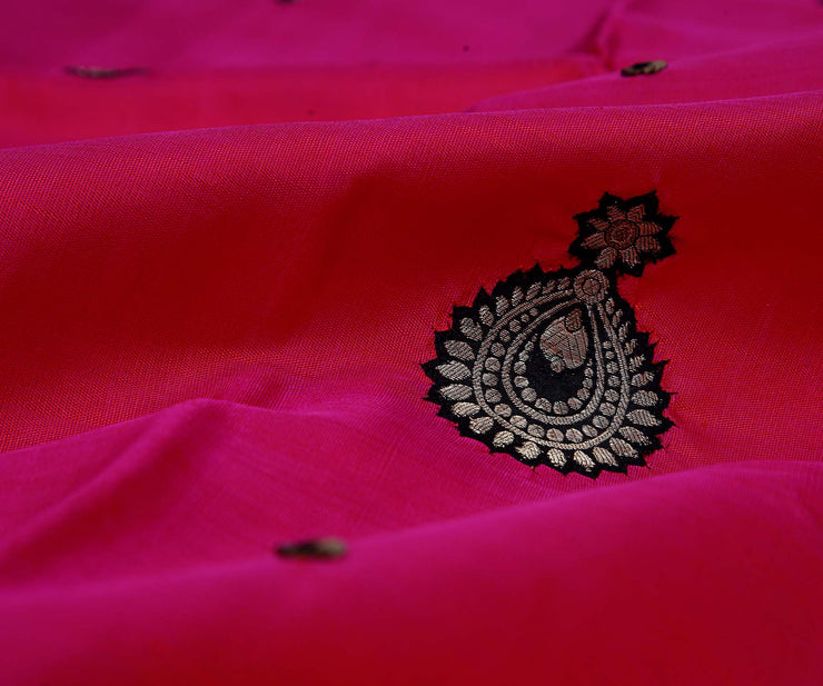 Pink Kanchi Silk Saree with Sequence and Applique, Black Pallu Crafted with Jewellery Applique