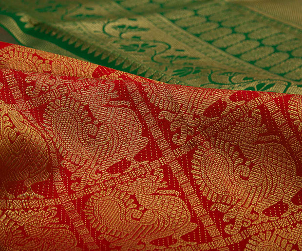 Red Color Long Border Kanchi Silk Saree with Annam Butta and Green Pallu