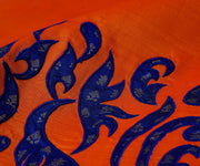 Orange Kanchi Silk Saree Crafted with Blue Kanchi Silk Applique in Border