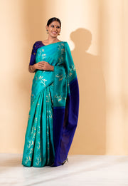 Turquoise Blue Printed Kanchi Silk Saree