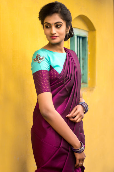 Purple Kanchi Silk Saree with Rexona Blue and Purple Kanchipuram Blouse