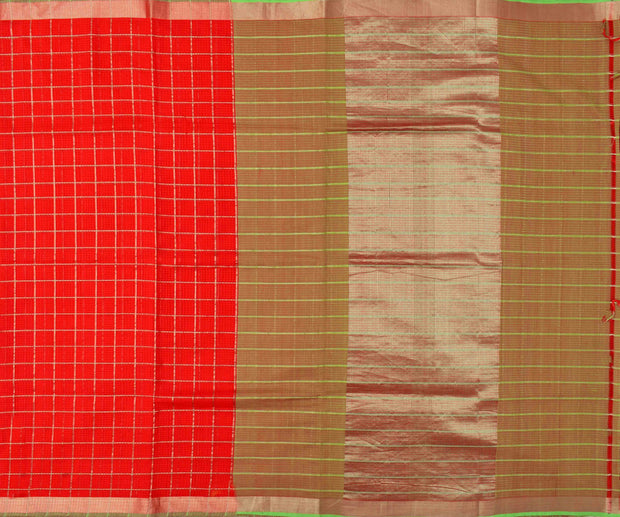 Red Checked Mangalagiri Cotton Saree With Parrot Green Silver Zari Border With Dual Shaded Blouse