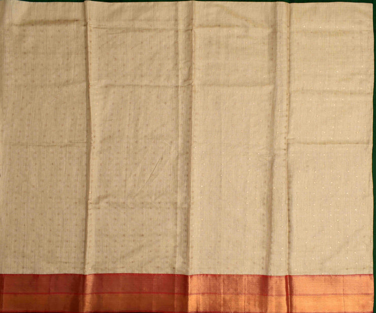 Half White Bailu Saree With Rose Long Border And Blouse