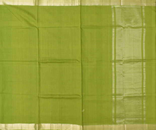 Olive Mangalagiri Cotton Saree With Silver Zari Temple Border With Blouse