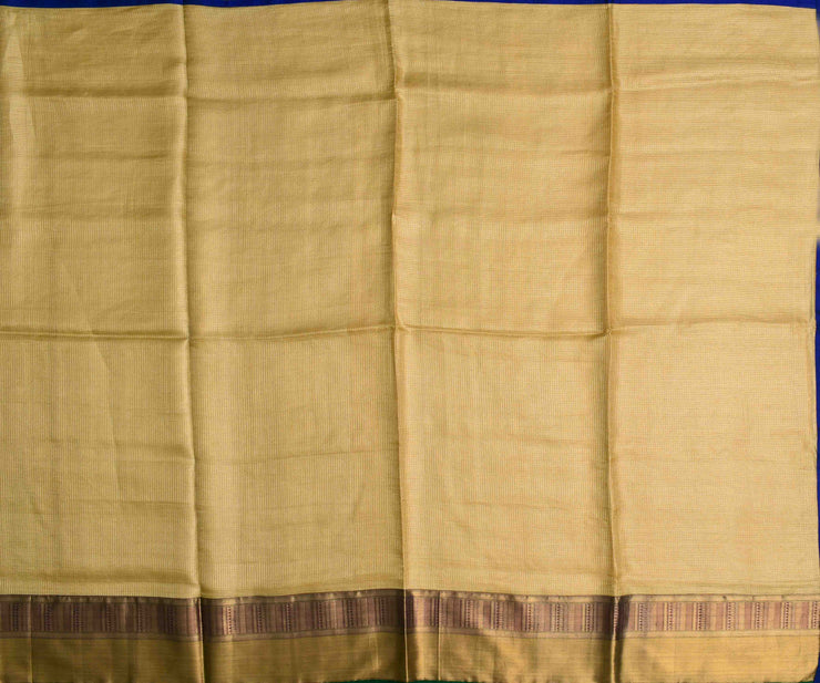 Beige Tussar Saree With Gold Long Border And Ms Blue Kanchi Silk Blouse