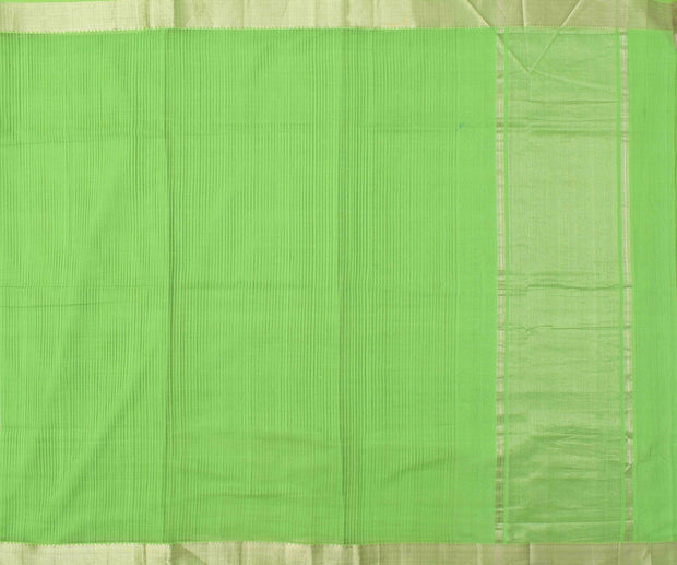 Parrot Green Mangalagiri Cotton Saree With Silver Zari Temple Border With Blouse