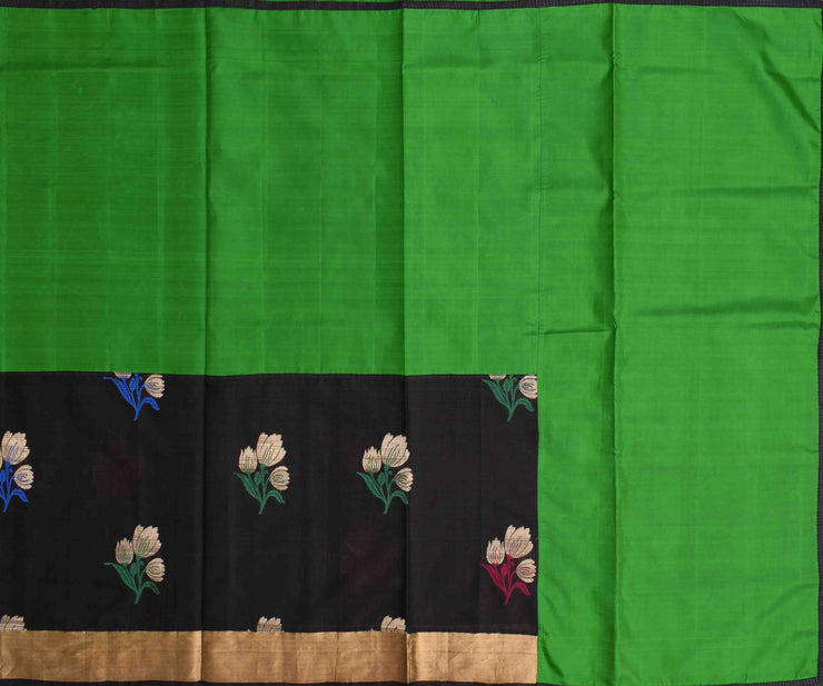 Green Kanchi Silk And Black Tussar Half And Half Saree With Blouse
