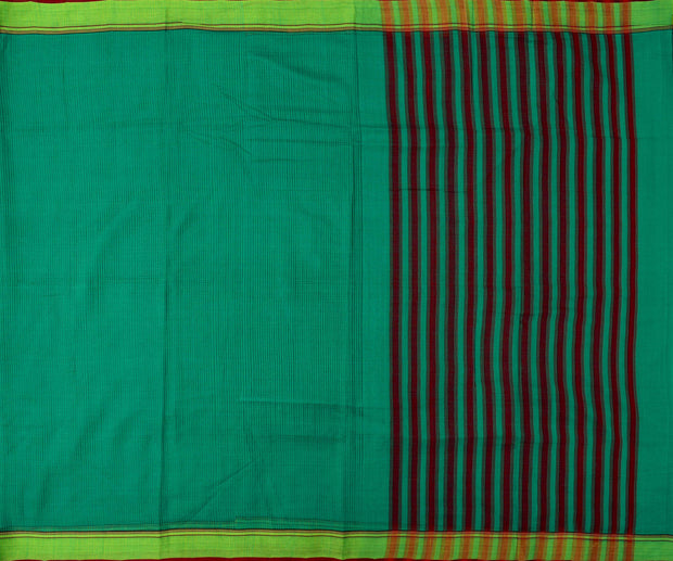 Turquoise Green Mangalagiri Cotton Saree With Marron And Green Border With Blouse