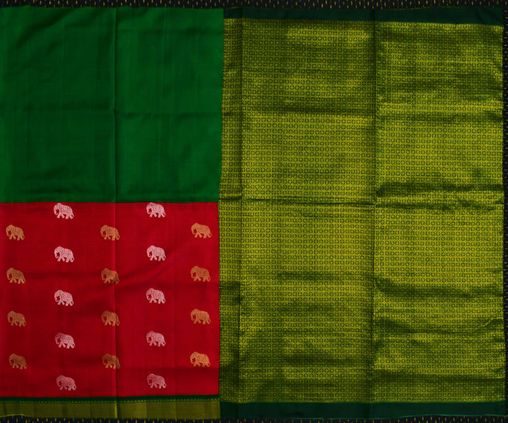 Red And Bottle Green Kanchi Silk Half And Half Saree With Bottle Green Checked Kanchi Silk Blouse