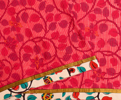 Red Kalamkari Floral Printed Cotton Saree  With Blouse
