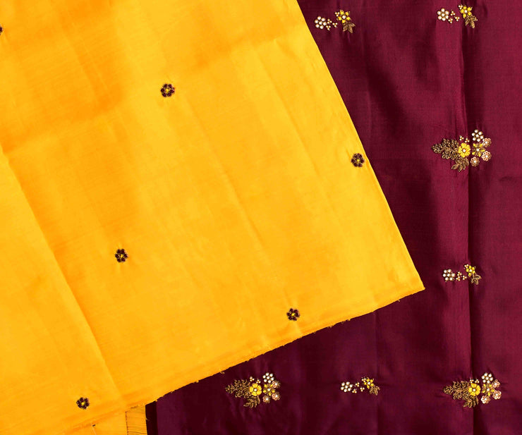 Yellow Kanchi Silk Saree With Maroon Pallu Crafted With Antique Zardosi And French Knot Floral Embroidery - With Blouse