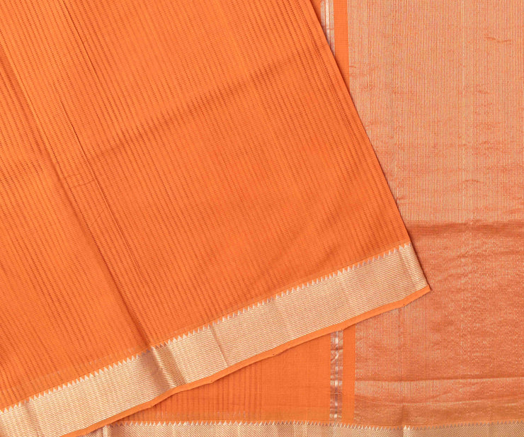 Orange Mangalagiri Cotton Saree With Silver Zari Temple Border With Blouse