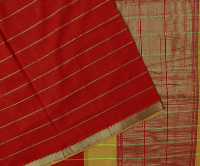 Red Mangalagiri Cotton Saree With Silver Temple Zari Border With Dual Shaded Blouse