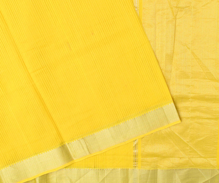 Yellow Mangalagiri Cotton Saree With Silver Zari Temple Border With Blouse