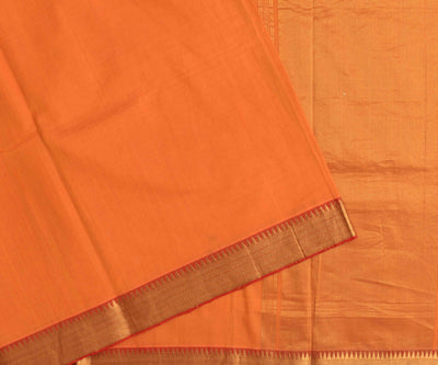 Orange mangalagiri cotton saree with gold zari  temple border with blouse