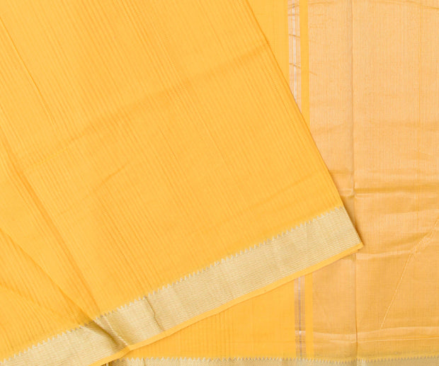 Pine Apple Yellow Mangalagiri Cotton Saree With Silver Zari Temple Border With Blouse