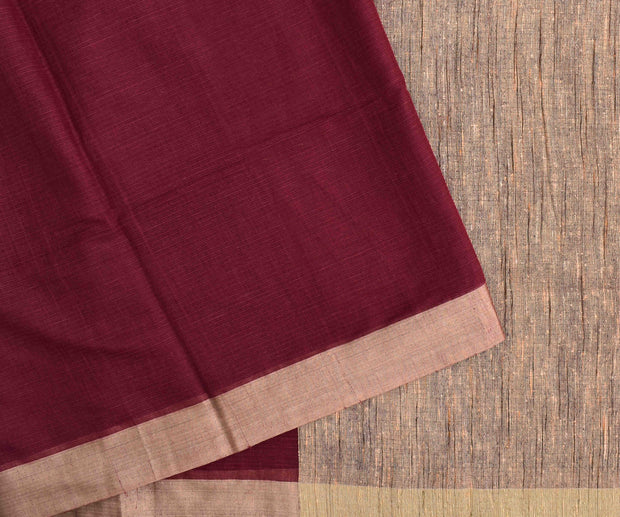 Rosewood mangalagiri cotton saree with antique gold zari border with blouse