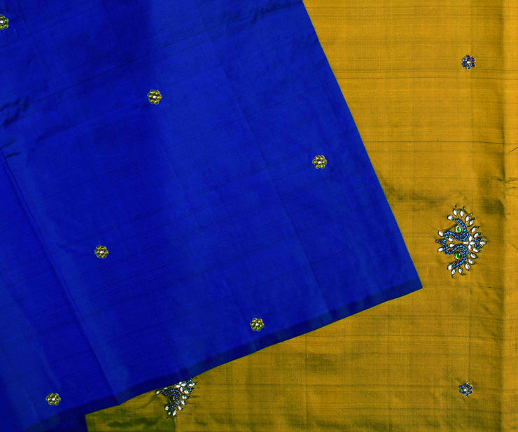 Ms Blue Kanchi Silk Saree With Olive Green Pallu Crafted With Twin Bird Kundan Embroidery - With Blouse