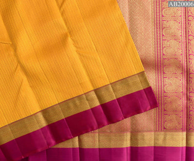 Yellow and Orange Dual Tone Jacquard Thread Kanchi Silk Saree With Rose Border and Blouse