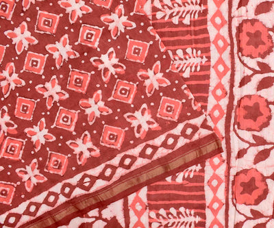 Salmon Red Batik Printed Chanderi Cotton Saree