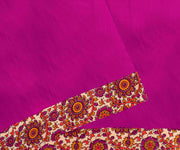 Magenta Pink Cotton Saree With Half White Floral Kalamkari Blouse