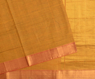 Marigold mangalagiri cotton saree with  gold zari border with blouse