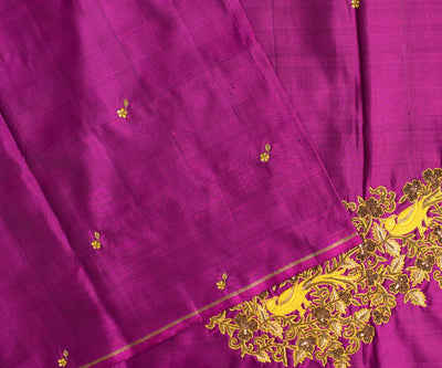 Magenta Kanchi Silk Saree Crafted With Parrot Zardosi And French Knot Embroidery - With Blouse